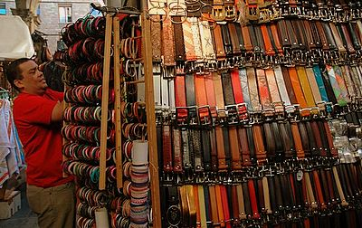 Lots of leather at the San Lorenzo Market - Florence